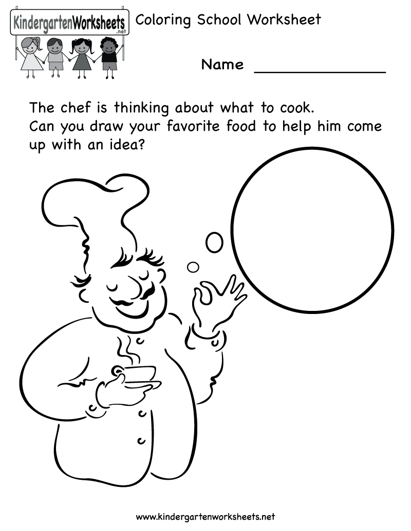 Kindergarten Cooking School Worksheet Printable