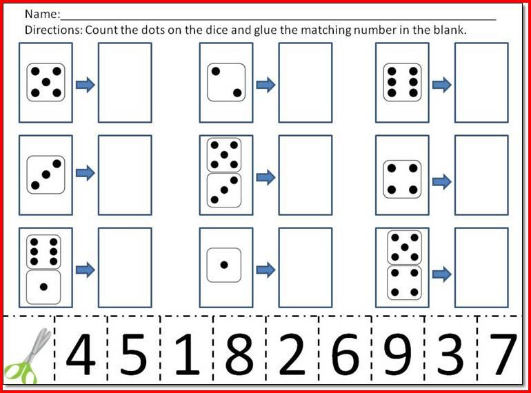 Kindergarten Cut And Paste Number Worksheets