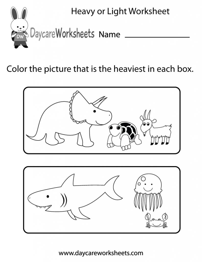 Kindergarten Free Preschool Heavy Or Light Worksheet Measuring