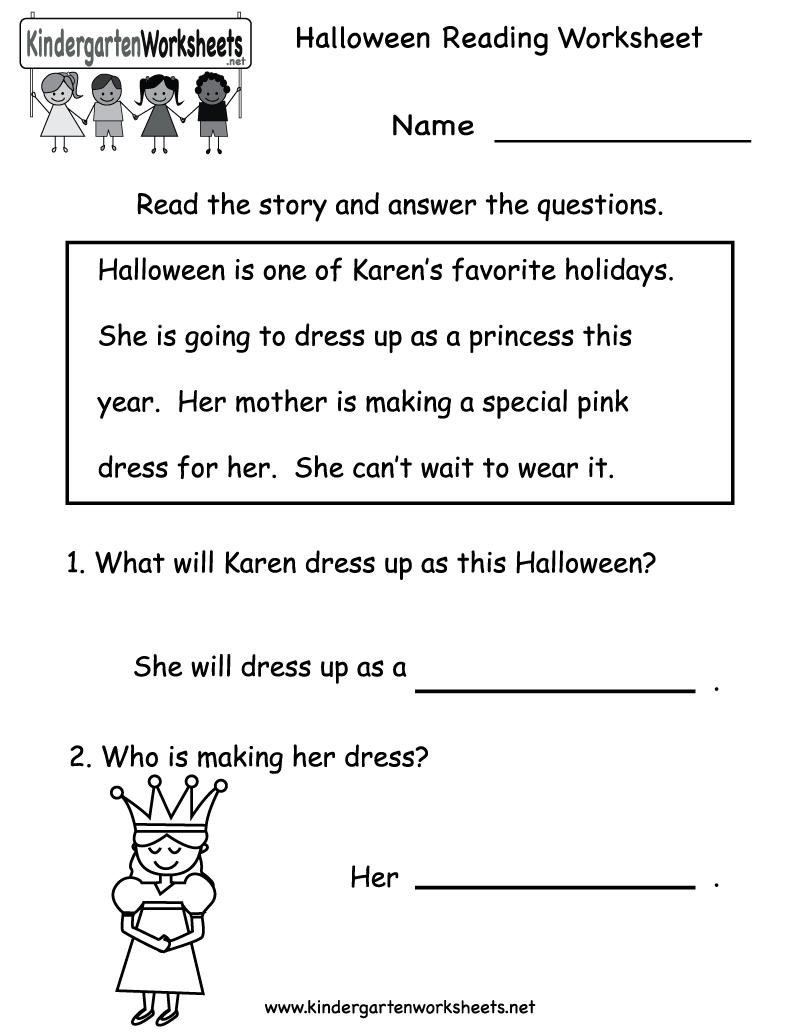 Kindergarten Halloween Reading Worksheet Printable