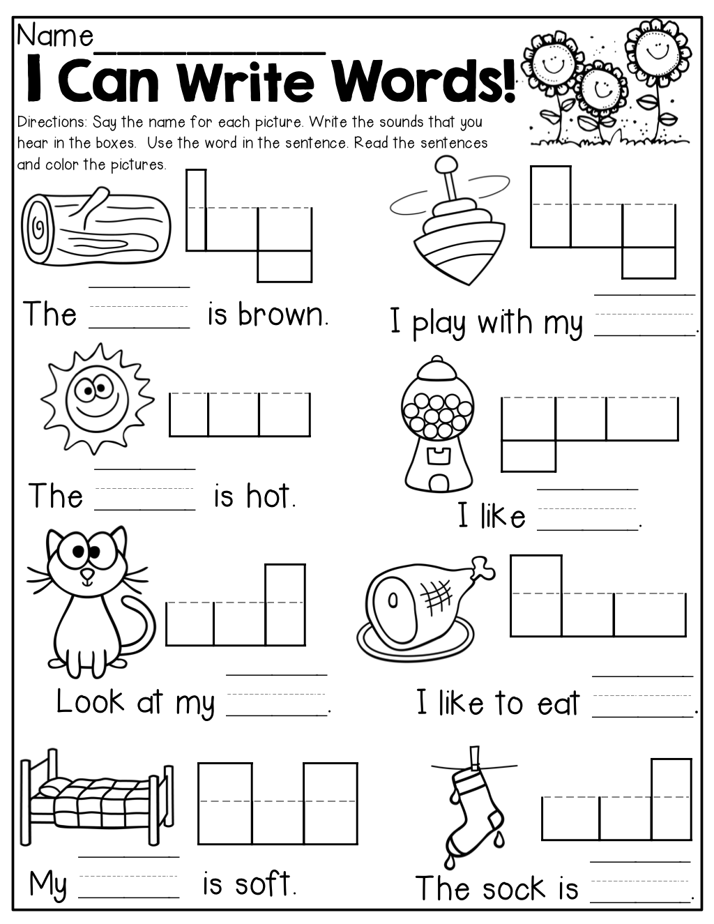 Kindergarten I Can Write Words! Read And Write Simple Words With