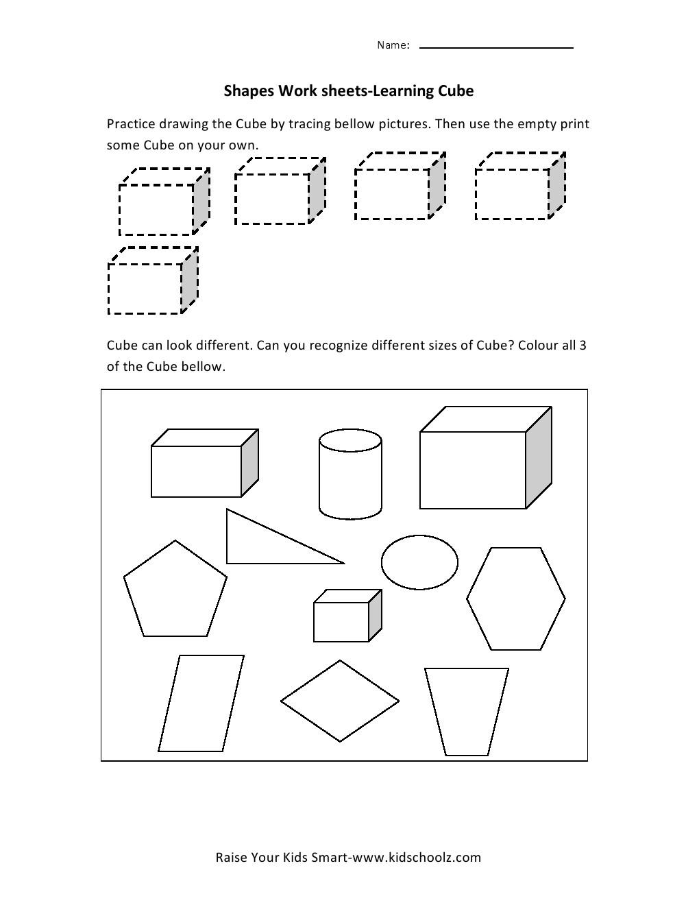 Kindergarten Kindergarten Cubes Worksheets  Kindergarten  Best