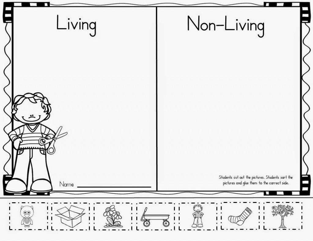 Kindergarten Living And Nonliving Things Worksheet For