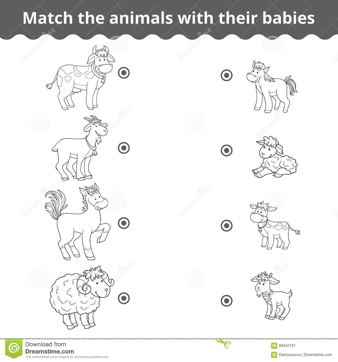 Kindergarten Matching Game For Children, Farm Animals And Babies