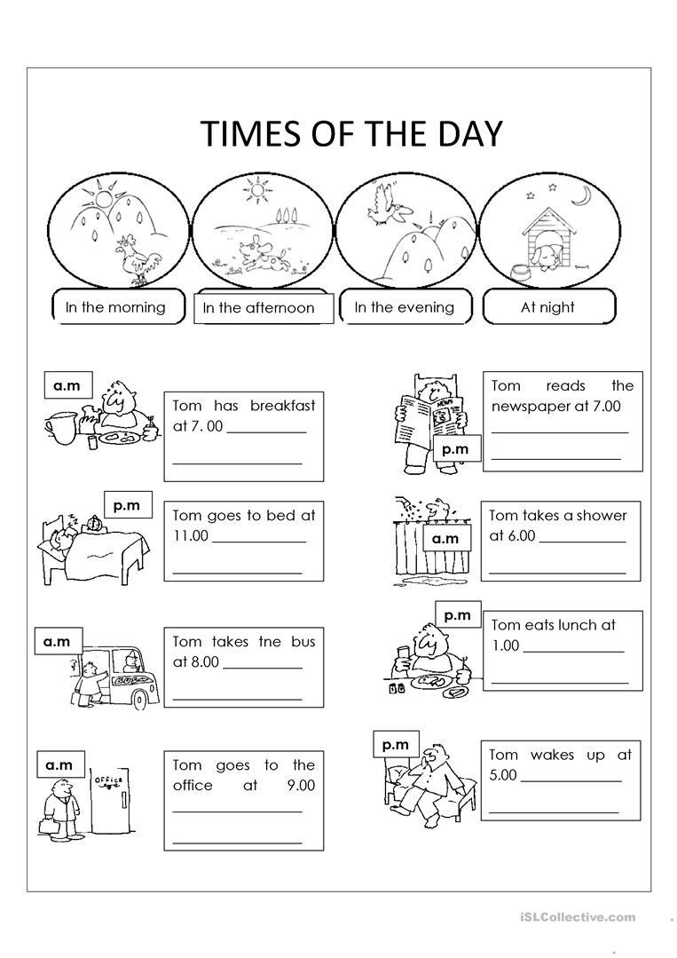 Kindergarten Morning Afternoon Evening Worksheets Worksheet Math