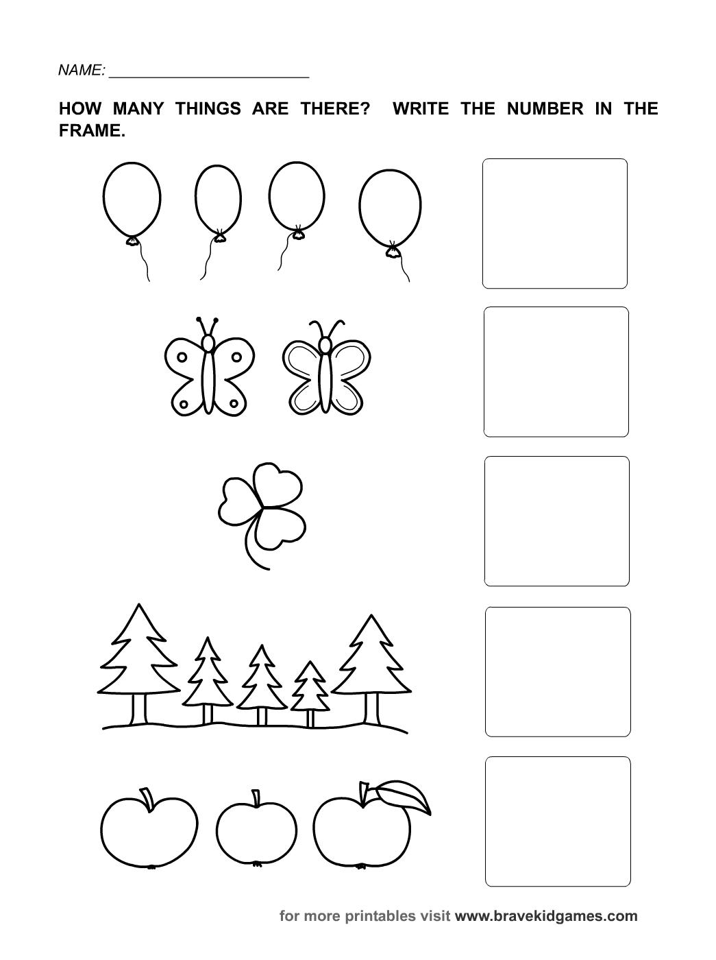 Kindergarten Worksheets For Numbers Kindergarten Worksheets