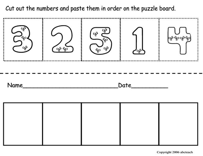 Kindergarten Worksheets For Ordering Numbers