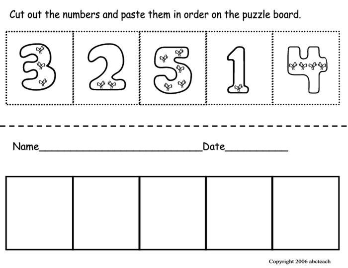 Kindergarten Worksheets For Ordering Numbers