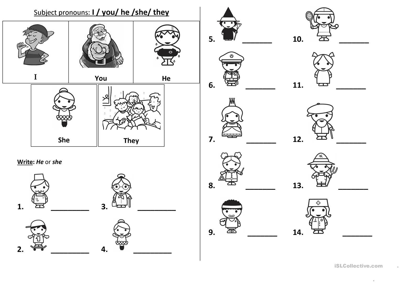 Kindergarten Worksheets He She It Beautiful Subject Pronouns