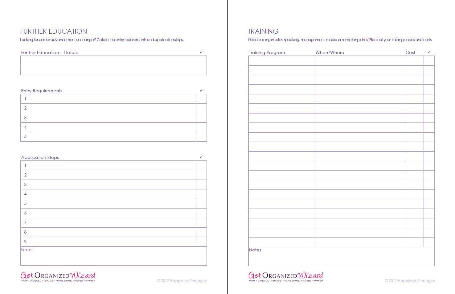 Life Management Worksheets