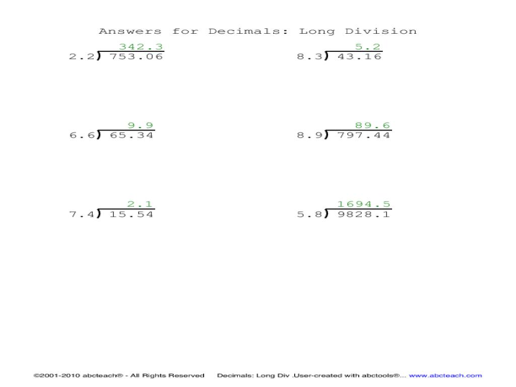 Long Division Worksheets With Decimals For All Decimal K