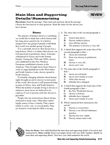 Main Idea Detail Worksheets The Best Worksheets Image Collection