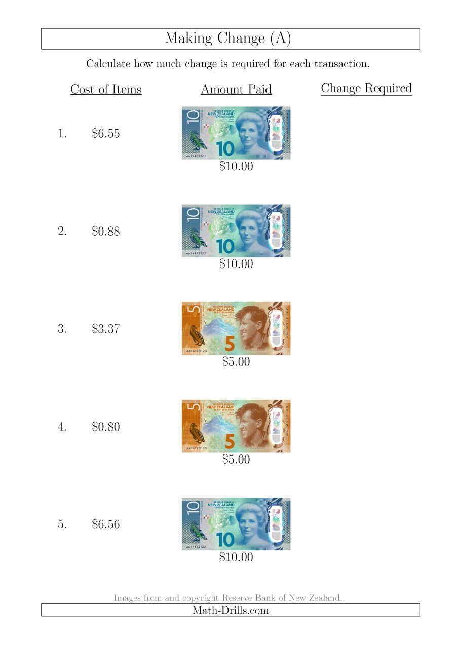 Making Change From New Zealand Banknotes Up To $10 (a)