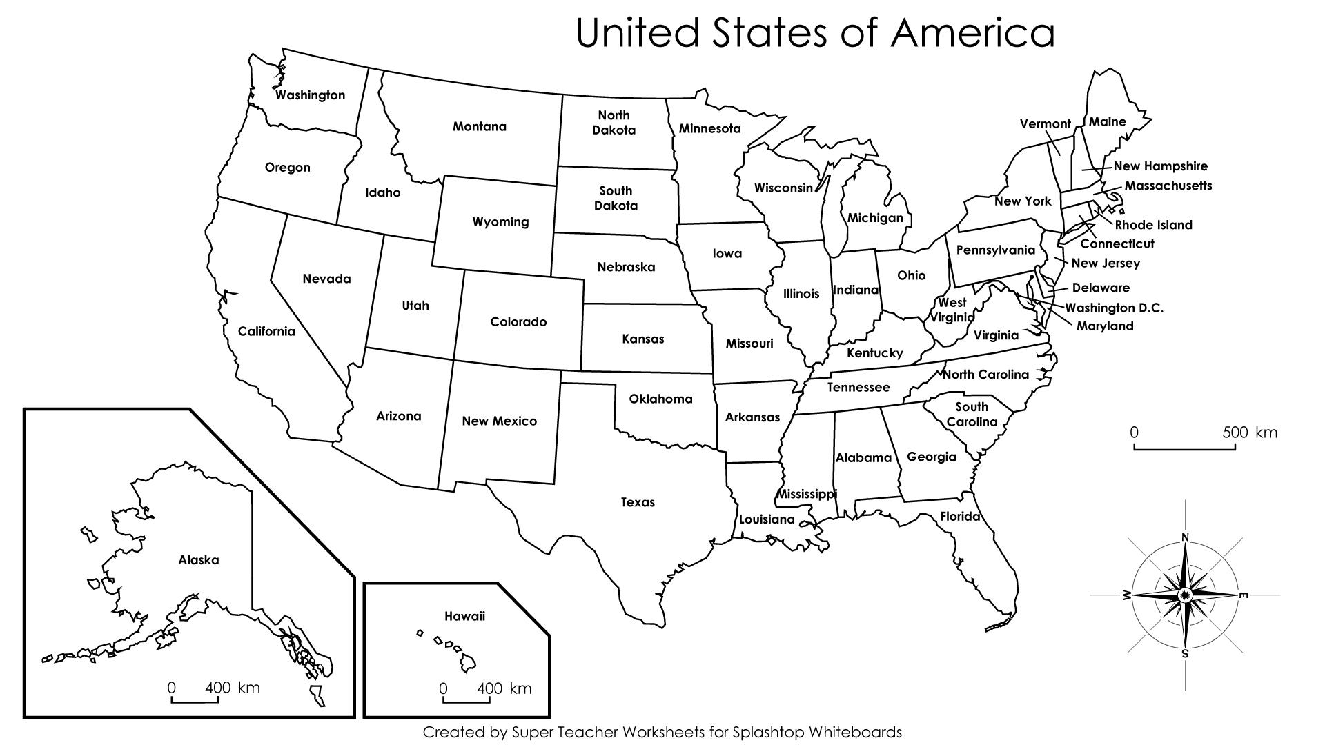 Map Of United States Worksheet