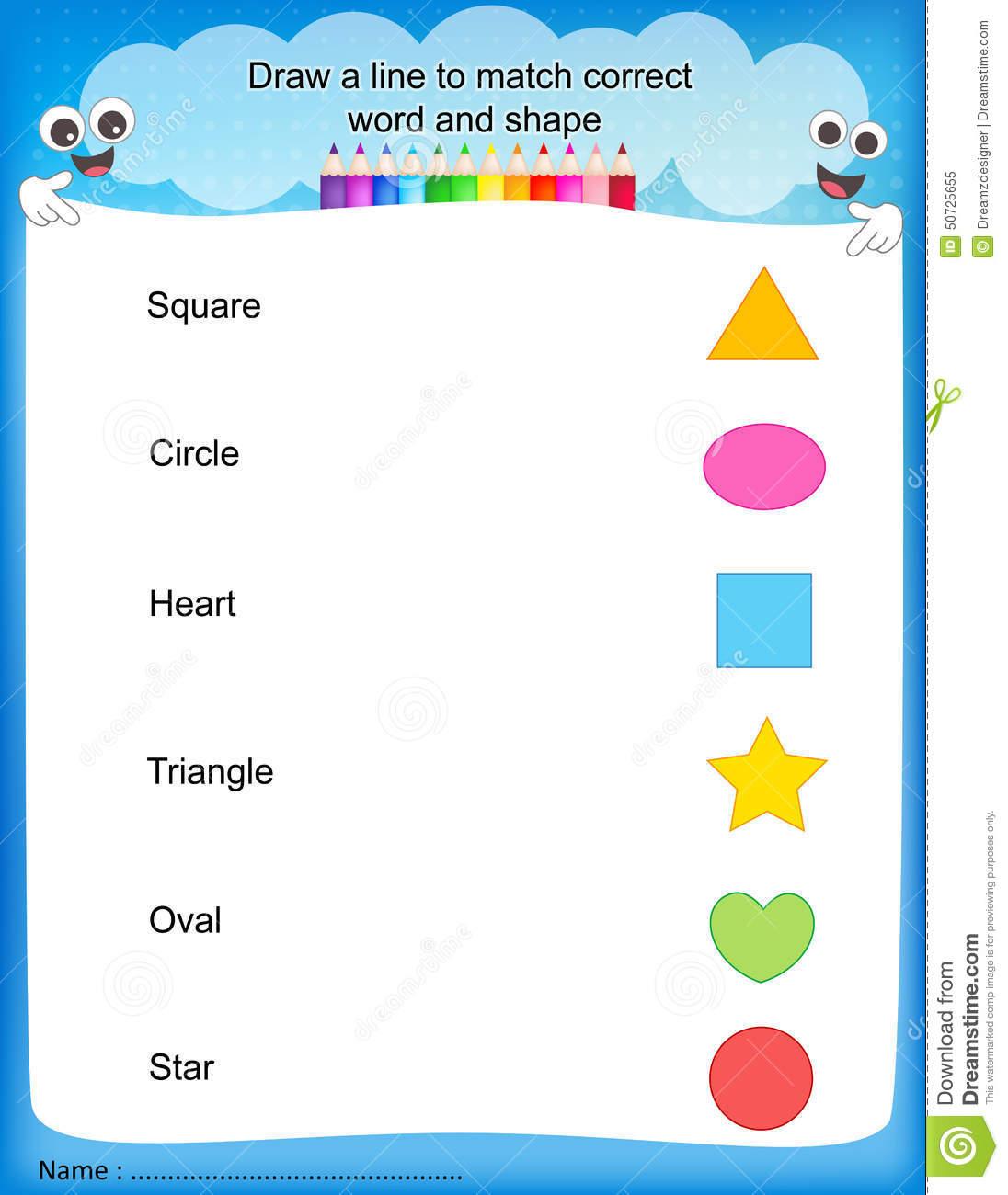 Match Shapes Kids Worksheet Stock Vector