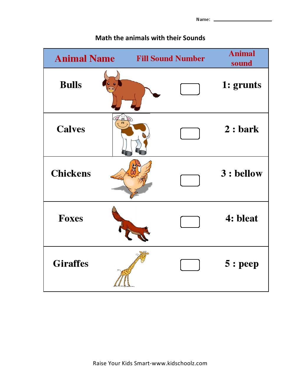 Matchings Free Science For Kids Lkg Kindergarten Printable Sheets