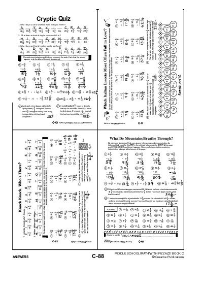 Cryptic Quiz Math Worksheets Answers Page 41