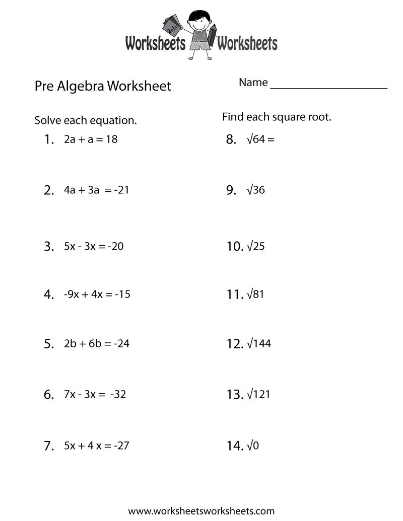 Math Worksheets For 8th Grade Pre Algebra Worksheets For All