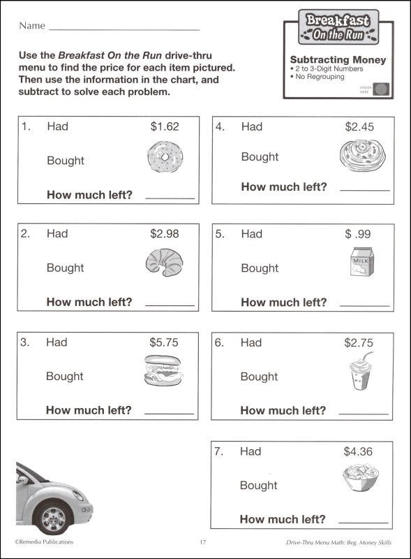 Menu Math Printable Worksheets Endowed Accordingly Ice Cream