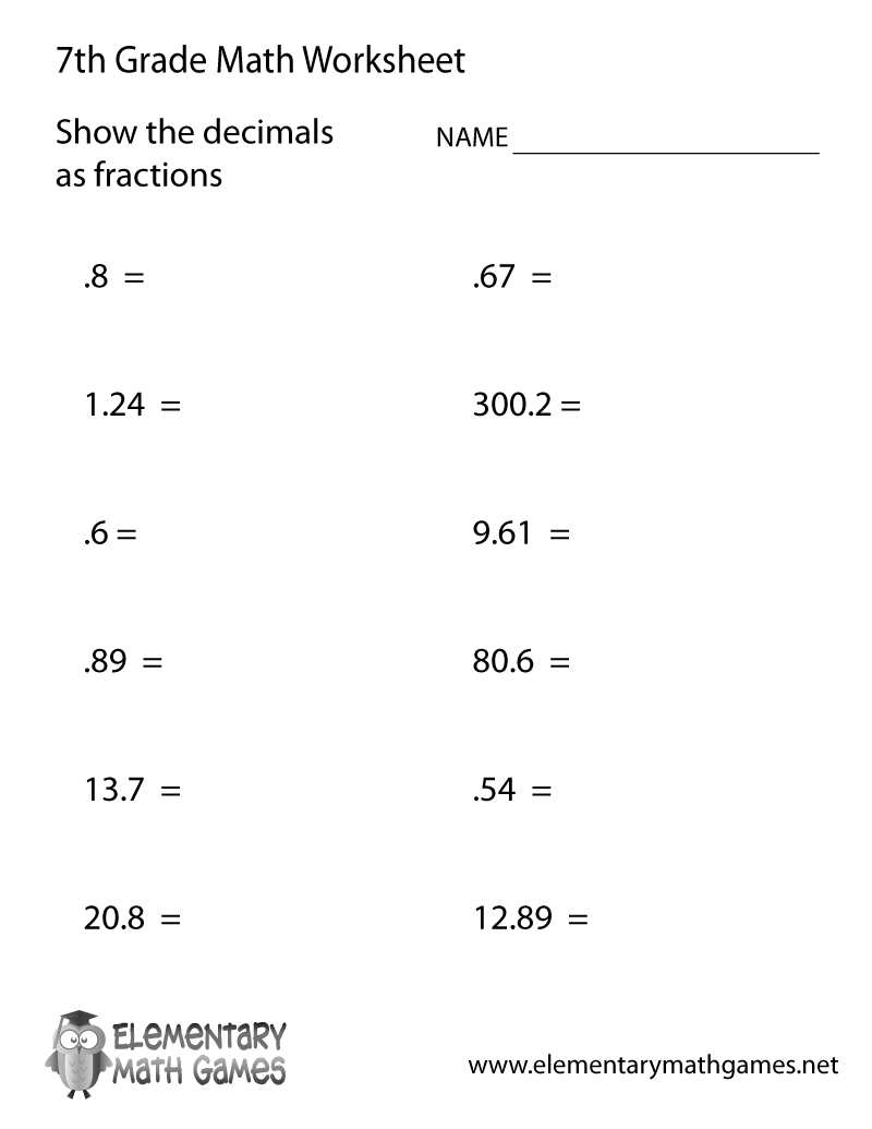 Mesmerizing Maths Worksheets For 7th Graders With Additional Math