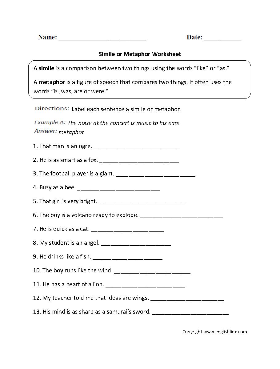 Metaphor Simile Worksheet
