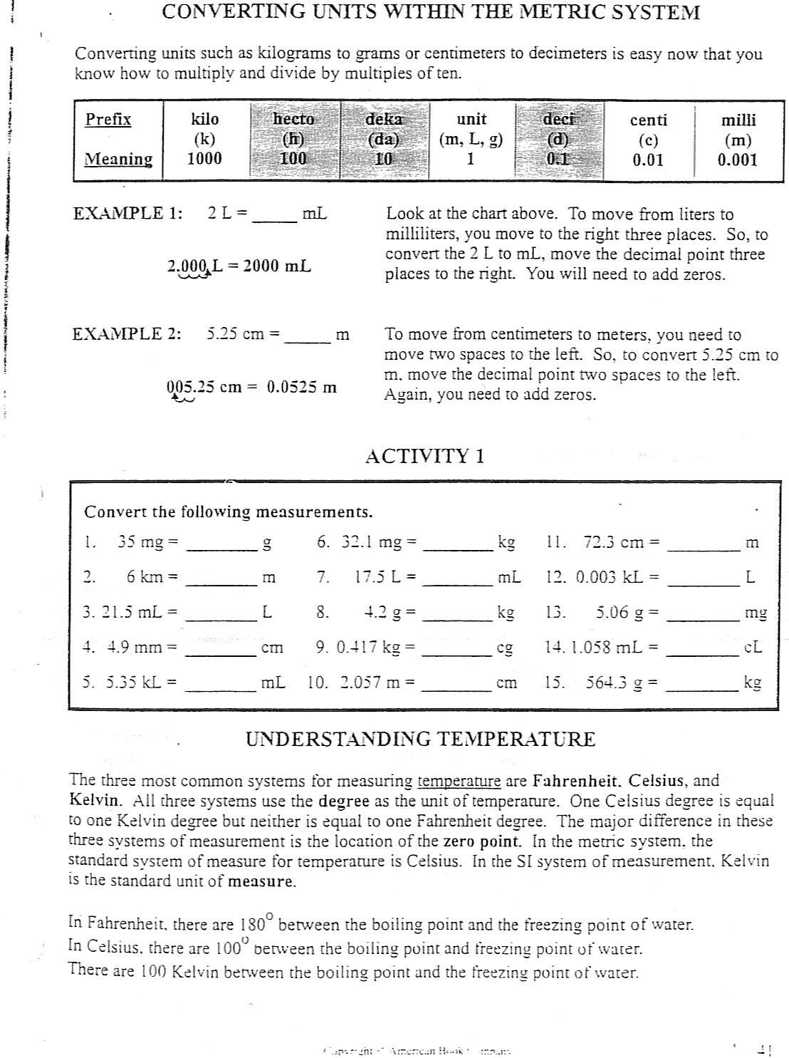 Metric System Worksheet High School Worksheets For All