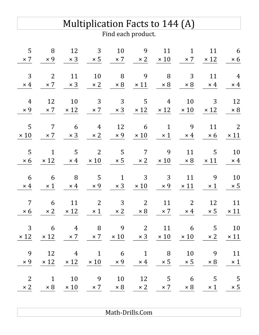 Multiplication Facts To 144 No Zeros (a)