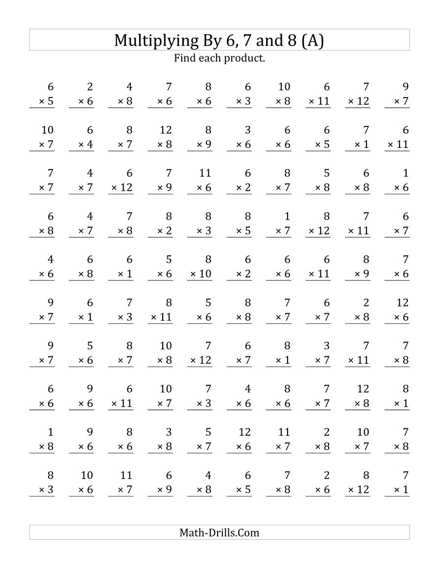 Multiplying 1 To 12 By 6, 7 And 8 (a)