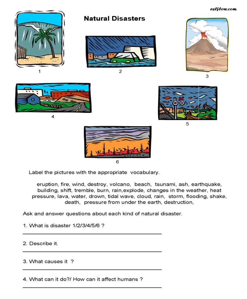 Natural Hazards Worksheets