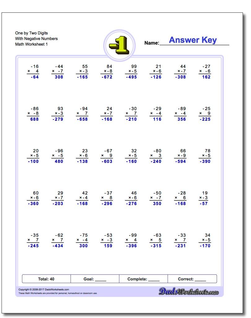Negative Numbers 16 Worksheets  Math Worksheets  Math Worksheets