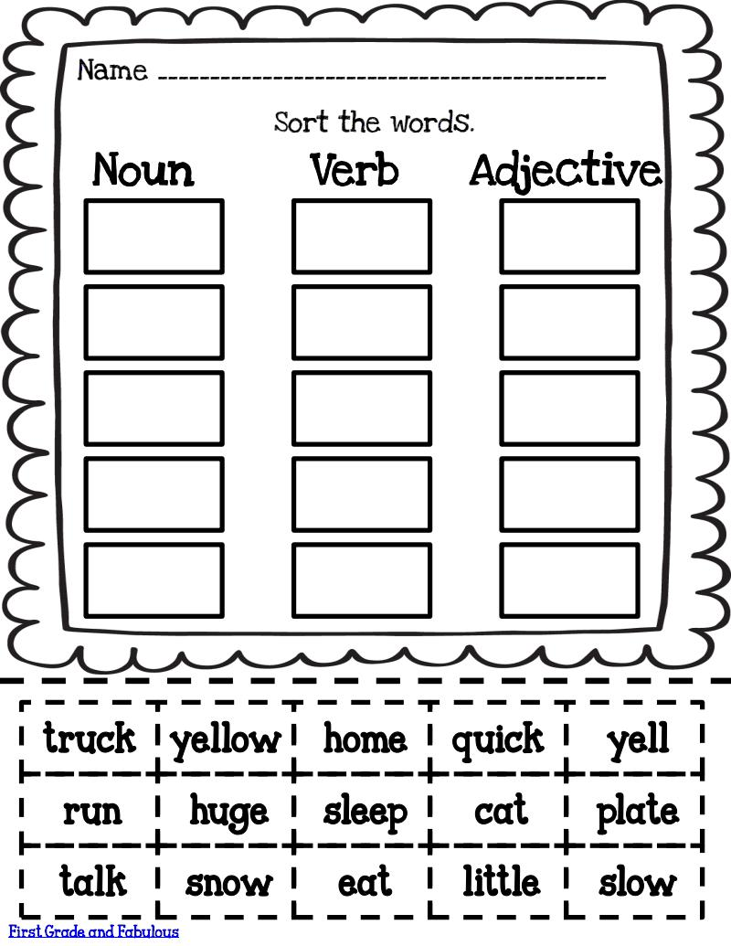 Nouns Verbs And Adjectives Worksheet Worksheets For All