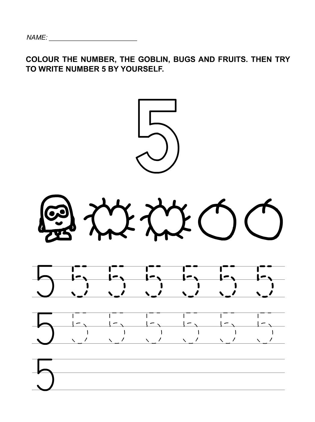 Number 5 Worksheets For Children Activity Shelter Kids Identifying