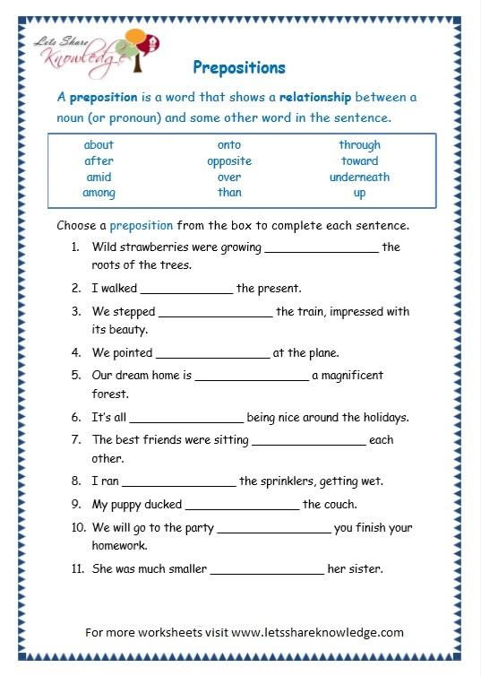 Online Grammar Worksheets For Grade 1