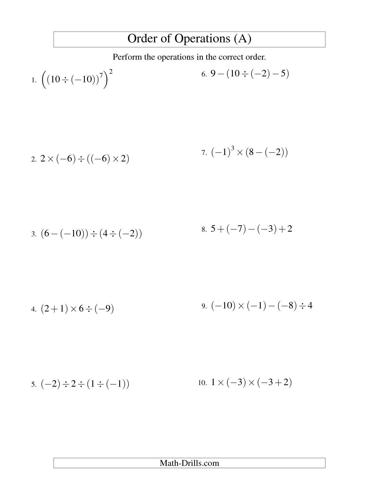 Operations With Integers Worksheet Telling The Time Worksheet