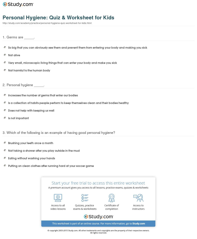 Personal Hygiene  Quiz & Worksheet For Kids