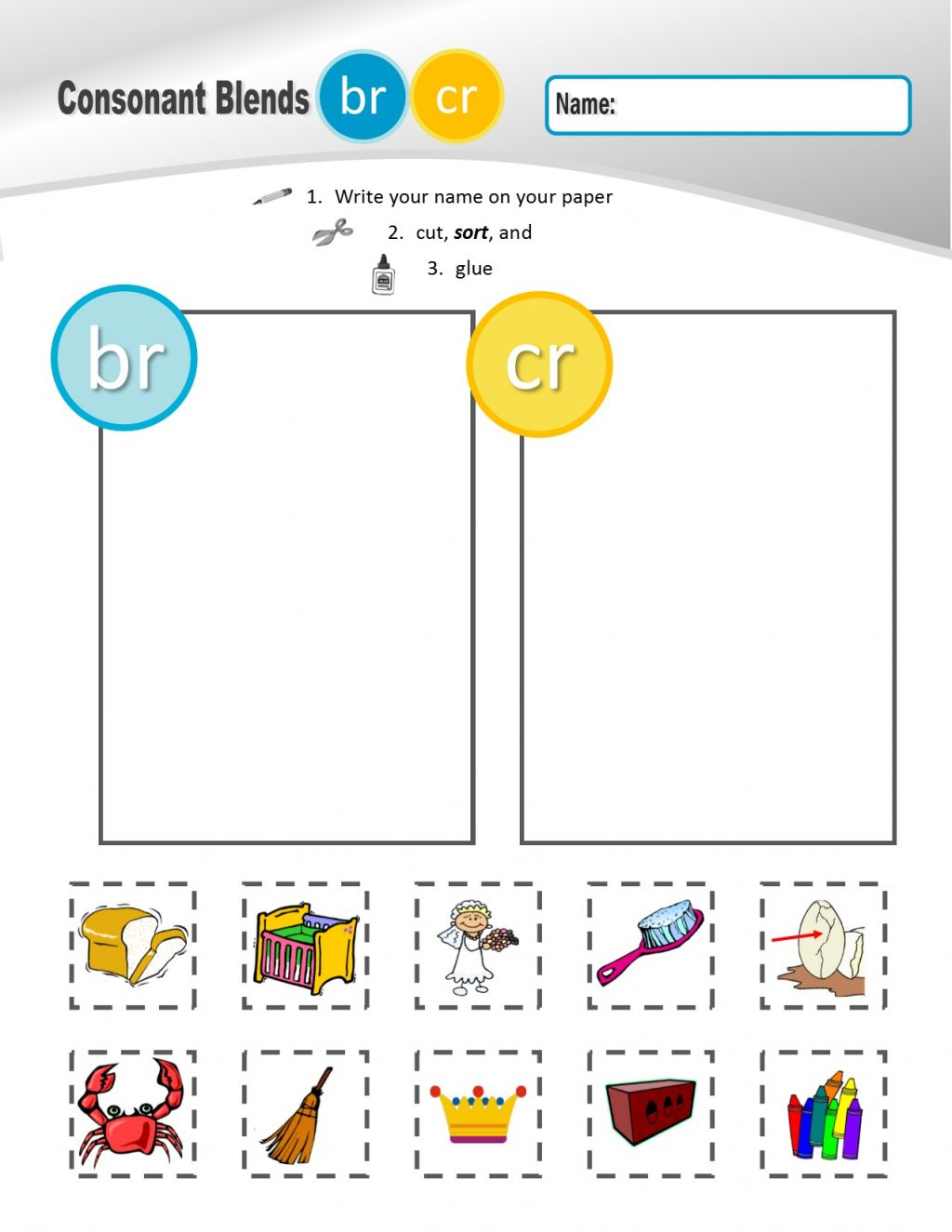 Pictures Of Consonantds R Br Cr Dr Fr Gr Pr Tr Sorting Sheets Math