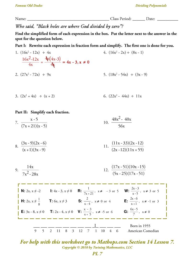 Pl 7 Dividing Polynomials   Worksheets Samples