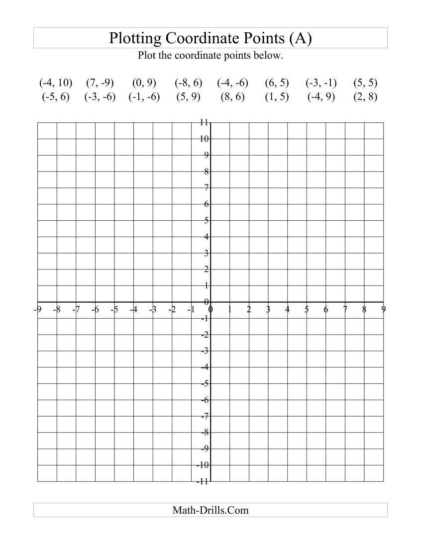 Plotting Coordinate Points (a) Math Worksheet  Freemath