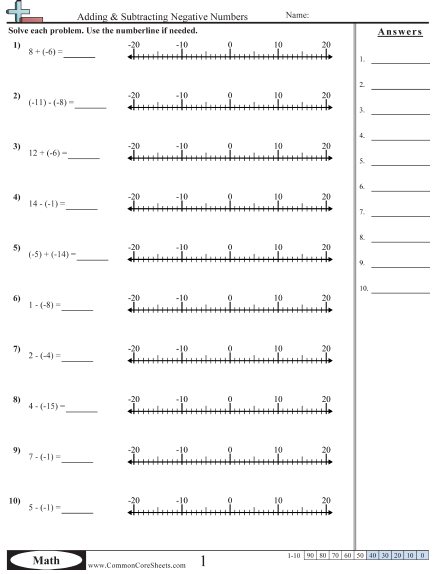 Positive And Negative Numbers On A Number Line Worksheet The Best
