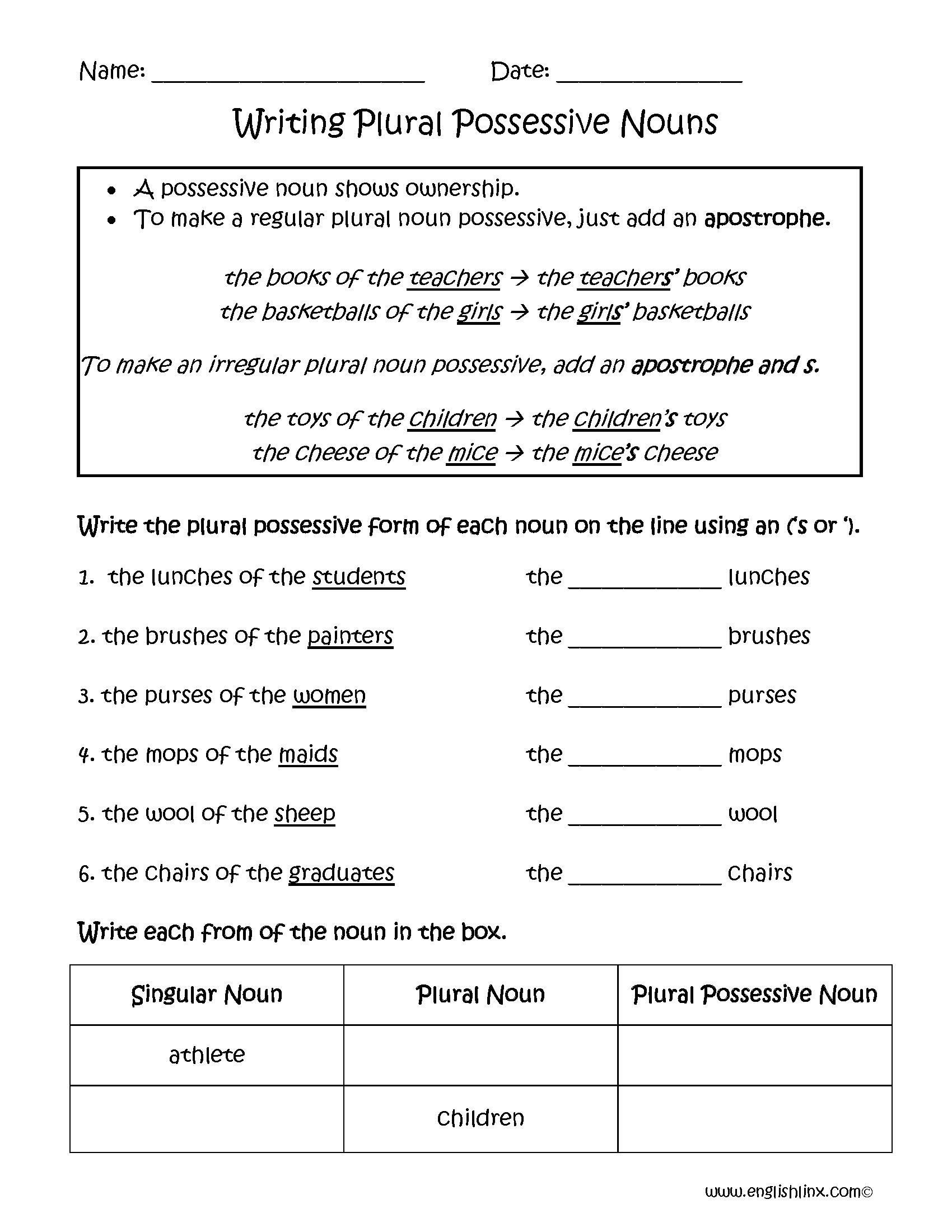 Possessive Nouns Worksheet Second Grade The Best Worksheets Image