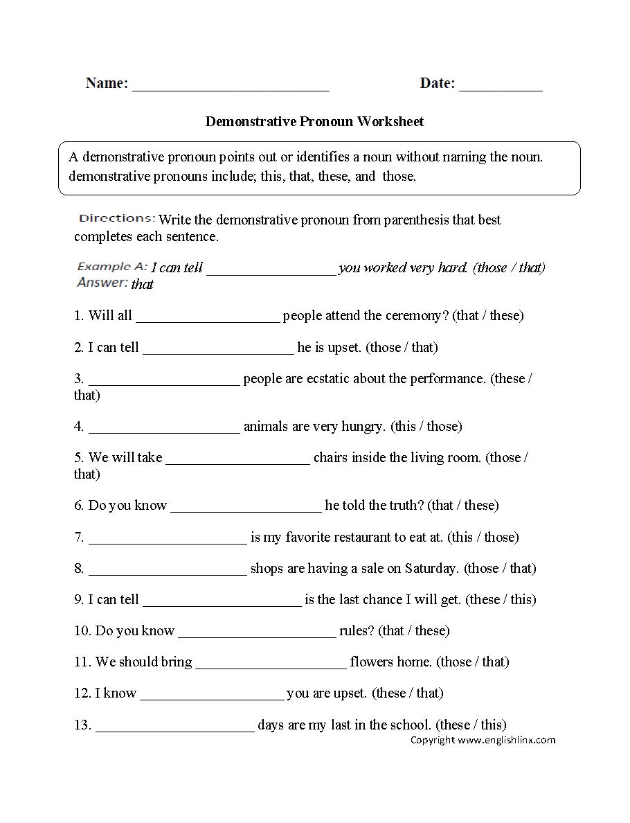 Possessive Pronouns Worksheet 3rd Grade Worksheets For All