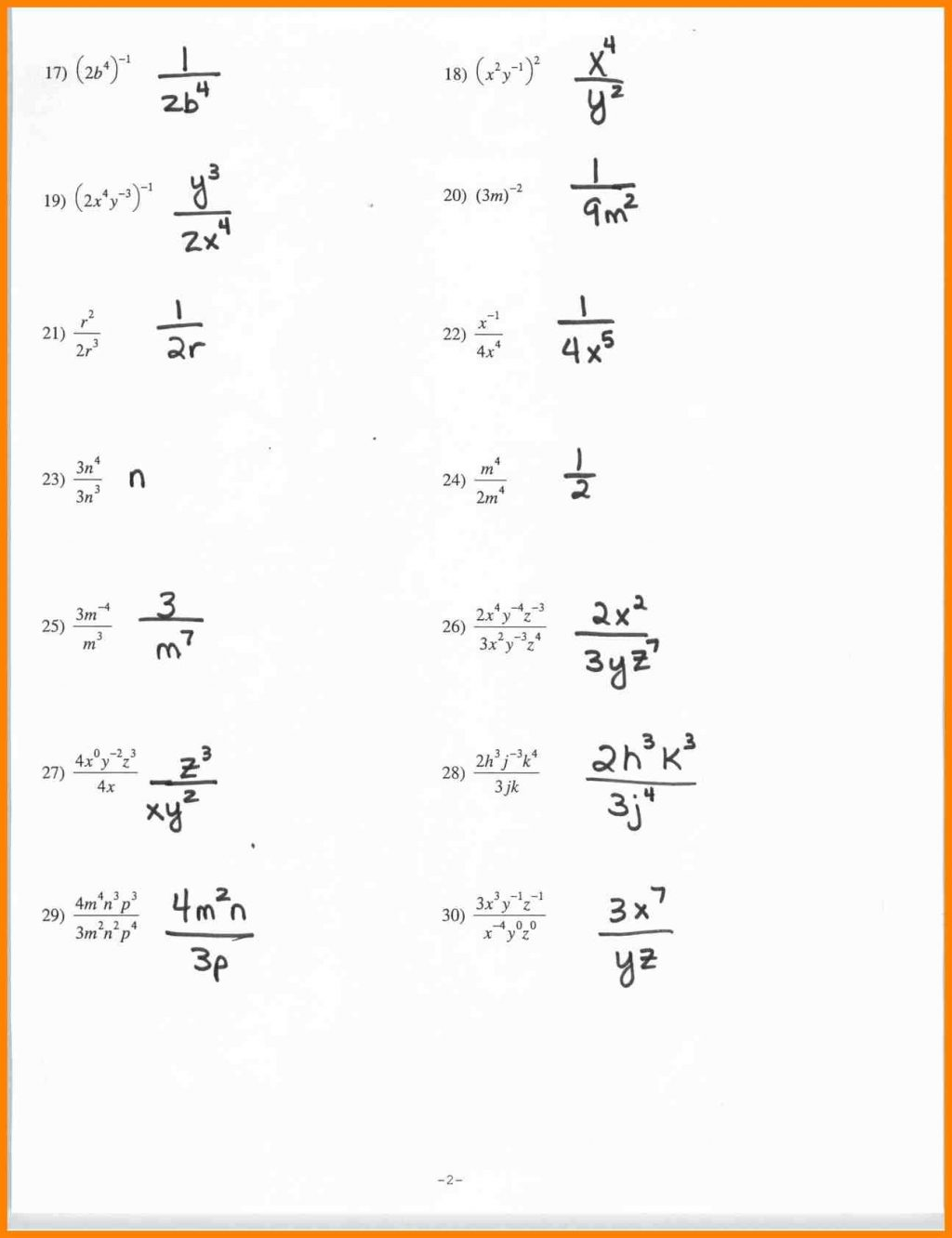 Practice Division Properties Of Exponents Worksheetrs Property
