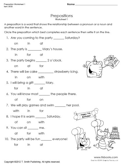 Preposition Worksheets 1st Grade The Best Worksheets Image