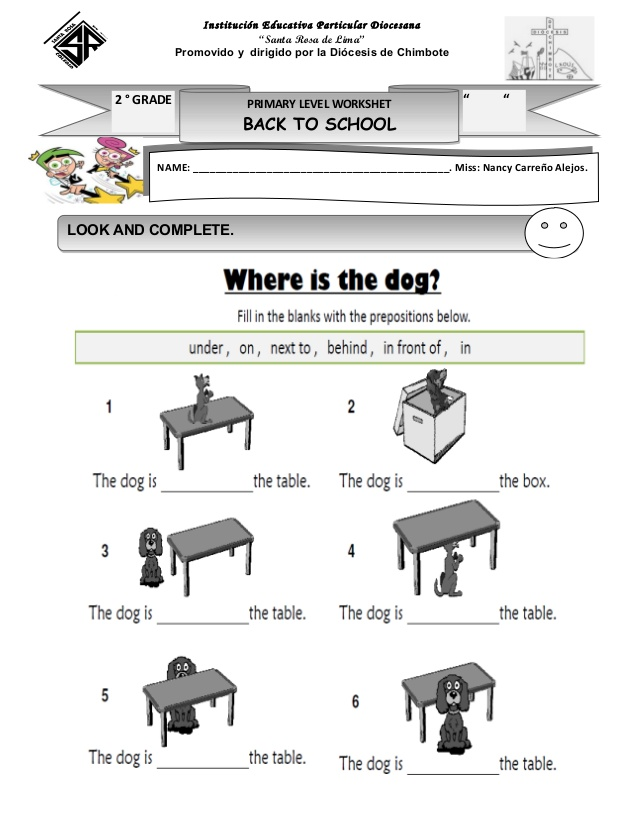 Prepositions Of Place Worksheet Ks1