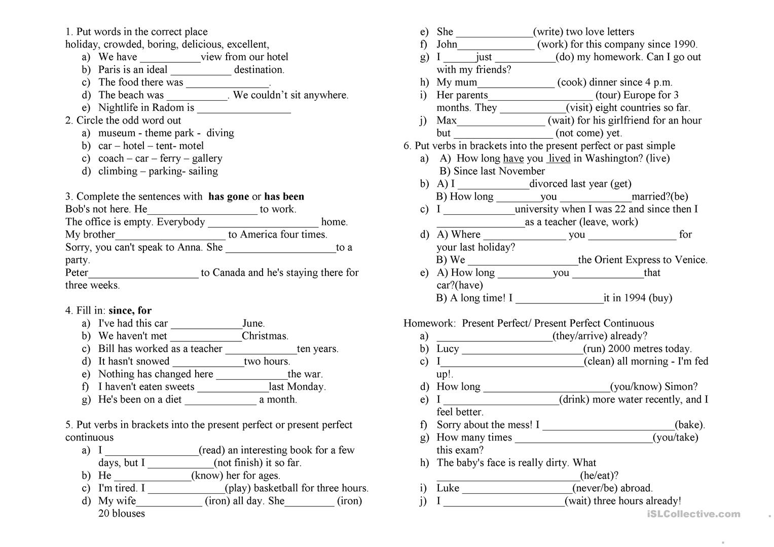 Present Perfect  Present Perfect Continuous  Past Simple Worksheet