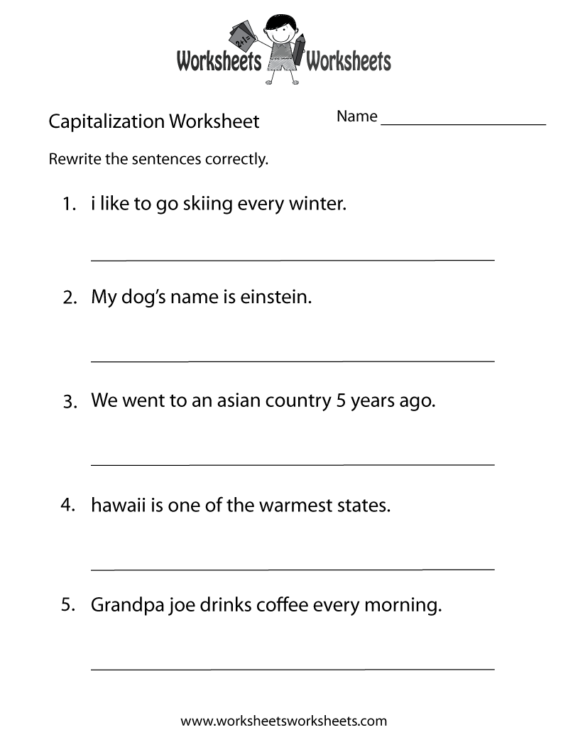 Printable Capitalization And Punctuation Worksheets For All