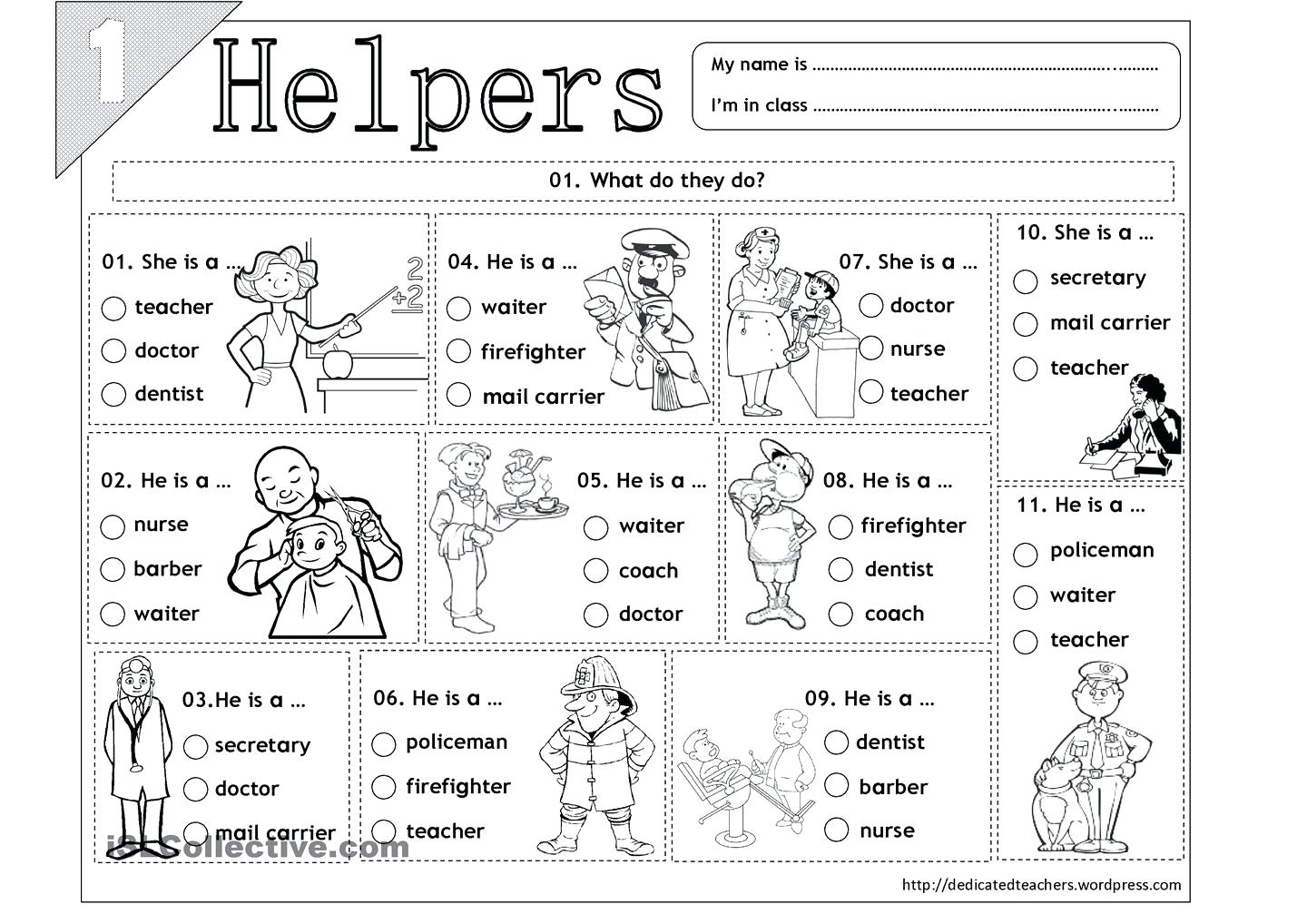 Printable Community Helper Coloring Pages For Kids Helpers Masks