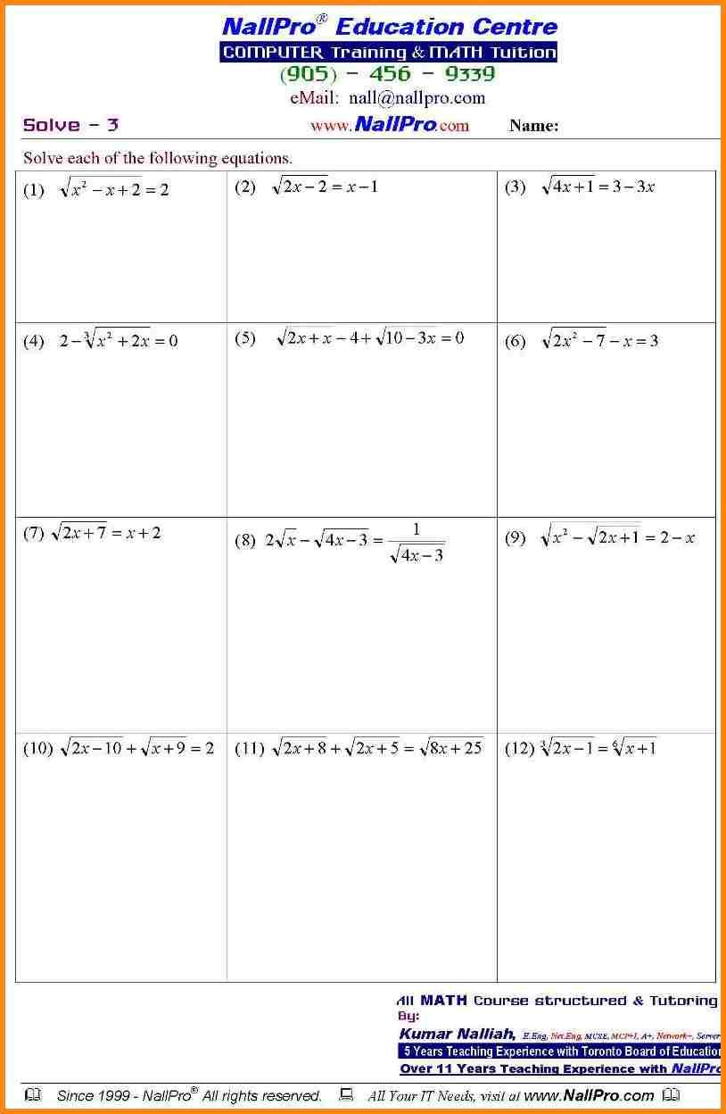 Printable Math Worksheets For 11th Grade
