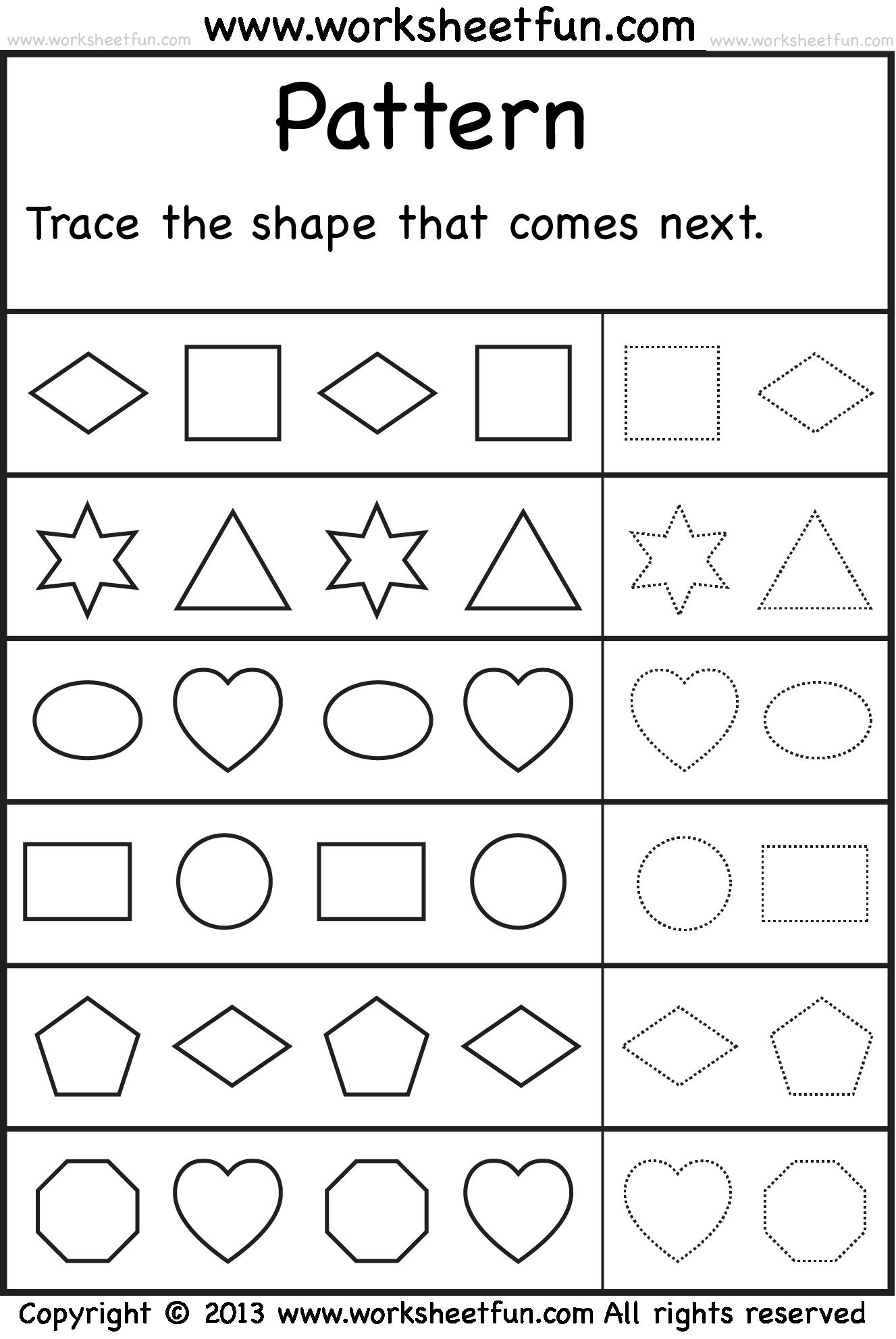 Printable Worksheets For Kindergarten Patterns