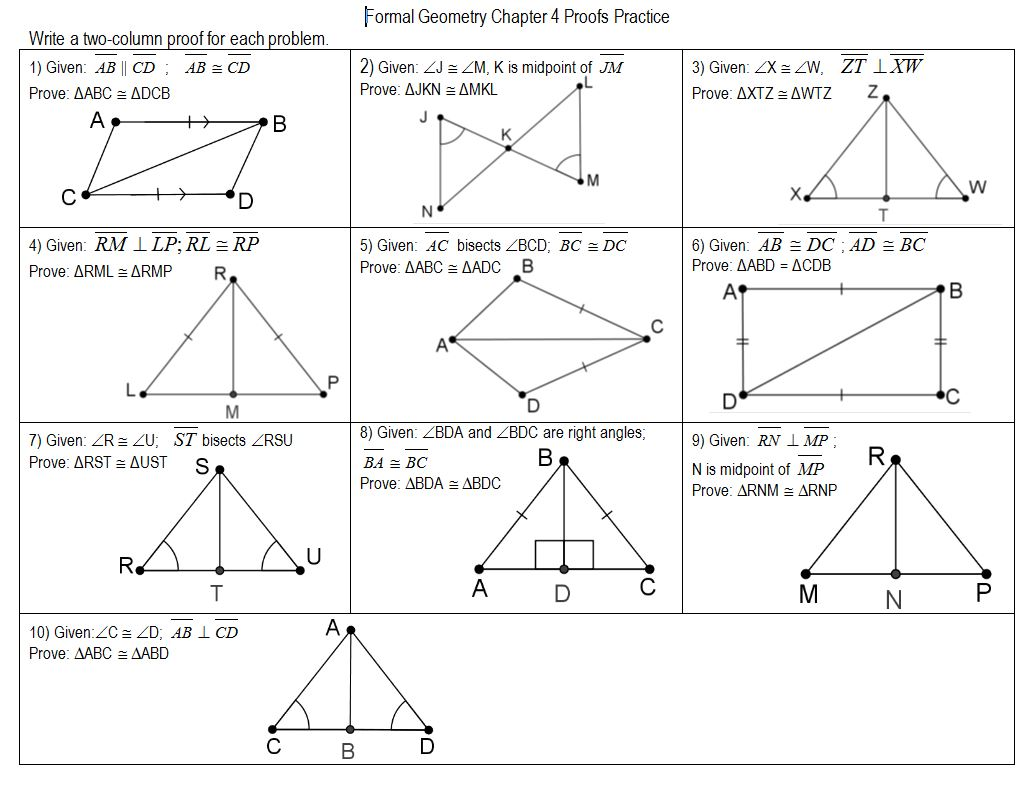 Proving Congruent Triangles Worksheet Doc